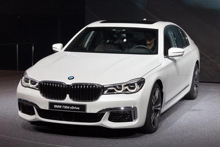 bmw: FRANKFURT, GERMANY - SEP 16, 2015: BMW 730d xDrive shown at the IAA 2015.