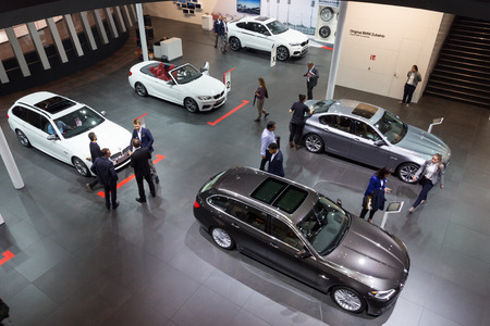 iaa: FRANKFURT, GERMANY - SEP 16, 2015: New BMWs shown at the IAA 2015.