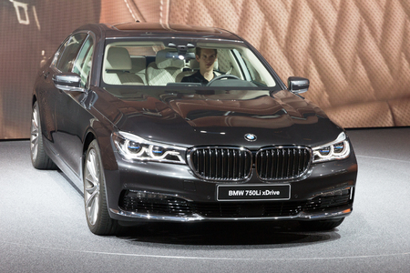 iaa: FRANKFURT, GERMANY - SEP 16, 2015: BMW 750Li xDrive shown at the IAA 2015.