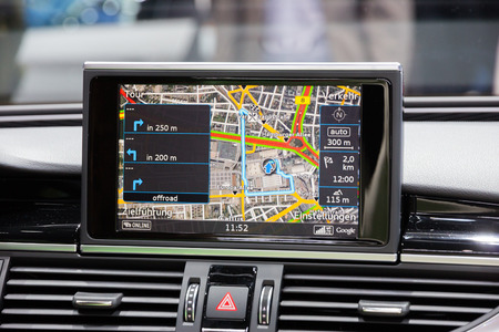 car navigation: FRANKFURT, GERMANY - SEP 16, 2015: Car navigation in the Audi RS7 shown at the IAA 2015.