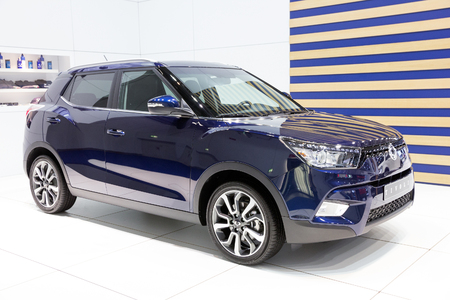 iaa: FRANKFURT, GERMANY - SEP 16, 2015: Ssangyong Tivoli premiere at the IAA 2015. Editorial