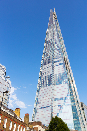 shard of glass: LONDON - JUL 1, 2015: View on the Shard. The building is the tallest in Europe.