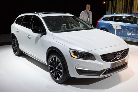 motorshow: AMSTERDAM - APRIL 22 - Volvo V60 Cross Country car on display at the AutoRAI motorshow. April 22, 2011 in Amsterdam, The Netherlands.