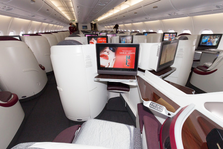 PARIS - JUN 18, 2015: Layout of the Business Class of a Qatar Airways Airbus A380. The A380 is the largest passenger airliner in the world.