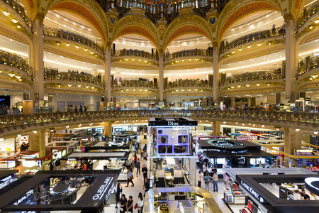 ceiling of the lafayette luxury shopping mall in paris stock photo