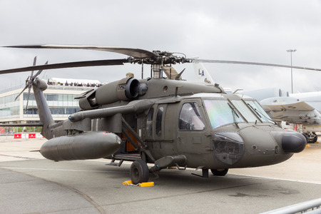 blackhawk helicopter: PARIS-LE BOURGET - JUN 18, 2015: American Army Sikorsky UH-60 Black Hawk helicopter at the 51st International Paris Air show