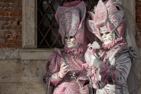 san marco: VENICE - FEB 5, 2013: Costumed people on the Piazza San Marco during the Venice Carnival.