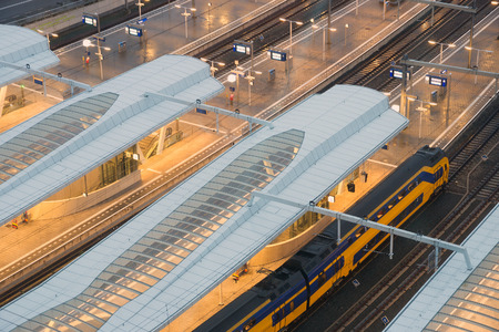 public transport: Intercity trains at Arnhem Central Station, The Netherlands Stock Photo