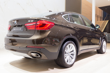 iaa: FRANKFURT, GERMANY - SEP 16, 2015: BMW X6 xDrive40d shown at the IAA 2015. Editorial