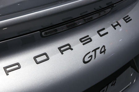 iaa: FRANKFURT, GERMANY - SEP 16, 2015: Porsche Cayman GT4 rear close up at the IAA 2015.