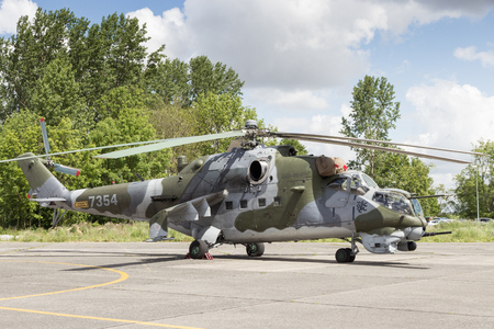 hind: BEAUVECHAIN, BELGIUM - MAY 20, 2015: Czech Air Force Mi-24V Hind attack helicopter. Editorial