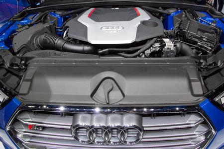 stratified: FRANKFURT, GERMANY - SEP 16, 2015: Audi S4 TFSI V6 engine at the IAA 2015.