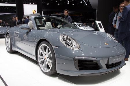 iaa: FRANKFURT, GERMANY - SEP 16, 2015: Porsche 911 Carrera at the IAA 2015.