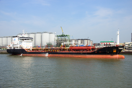 Chemical tanker moored in the Port of Rotterdam.