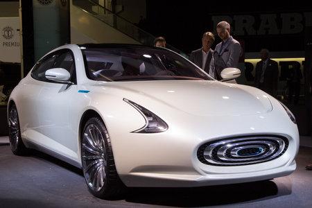 iaa: FRANKFURT, GERMANY - SEP 16, 2015: World Premiere of Thunder Power car at the IAA 2015.