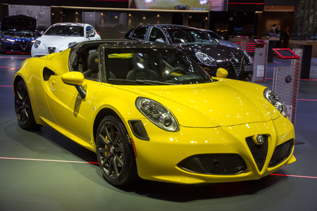 romeo: BRUSSELS - JAN 12, 2016: Alfa Romeo 4C sports car on display at the Brussels Motor Show. Editorial