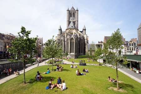 GHENT, BELGIUM - JUN 18, 2013: View on the St Bavos Cathedral of Gent. The city is a municipality located in the Flemish region of Belgium.
