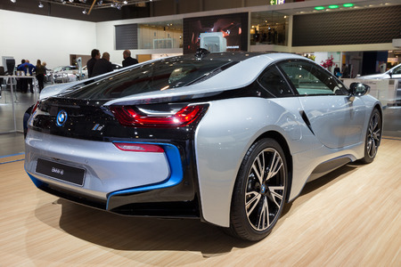 super car: BRUSSELS - JAN 12, 2016: BMW i8 on display at the Brussels Motor Show. Editorial