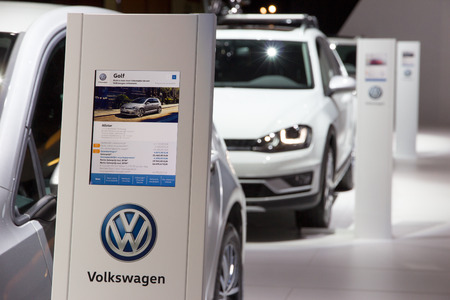 motor cars: BRUSSELS - JAN 12, 2016: New Volkswagen cars on display at the Brussels Motor Show. Editorial
