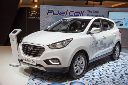 fuel cell: BRUSSELS - JAN 12, 2016: New Hyundai ix35 Fuel Cell presented at the Brussels Motor Show. Editorial