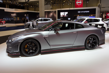 nissan: BRUSSELS - JAN 12, 2016: Nissan GT-R NISMO on display at the Brussels Motor Show.