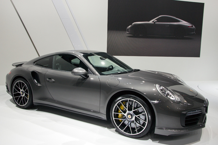 turbo: BRUSSELS - JAN 12, 2016: New Porsche 911 Turbo S on display at the Brussels Motor Show.