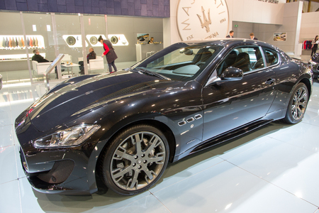 supercar: BRUSSELS - JAN 12, 2016: Maserati GranTurismo Sport on display at the Brussels Motor Show.