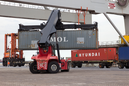 handler: ROTTERDAM, NETHERLANDS - SEP 8, 2013: Mobile container handler in action at a container terminal in the Port of Rotterdam Editorial