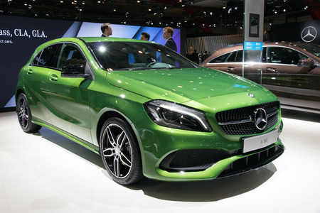 benz: BRUSSELS - JAN 12, 2016: Mercedes-Benz A160 on display at the Brussels Motor Show. Editorial