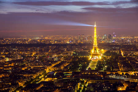 PARIS, FRANCE - JUNE 17, 2015: Evening view on Paris and the Eiffel Tower. Editorial