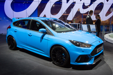 to focus: BRUSSELS - JAN 12, 2016: Ford Focus RS on display at the Brussels Motor Show. Editorial