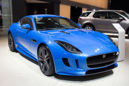 supercar: BRUSSELS - JAN 12, 2016: Jaguar F-Type coupe on display at the Brussels Motor Show.