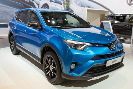 motor show: BRUSSELS - JAN 12, 2016: Toyota RAV4 on display at the Brussels Motor Show.