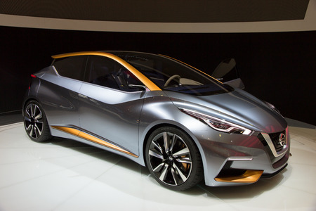 sway: BRUSSELS - JAN 12, 2016: Nissan Sway on display at the Brussels Motor Show.