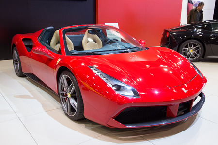 BRUSSELS - JAN 12, 2016: Red Ferrari 488 Spider sports car shown at the Brussels Motor Show. Editorial