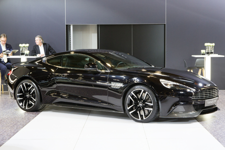 vanquish: BRUSSELS - JAN 12, 2016: Aston Martin Vanquish on display at the Brussels Motor Show.