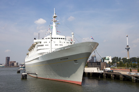 ss: ROTTERDAM, THE NETHERLANDS - AUG 1, 2014: The SS Rotterdam is a 228-meter, 13-deck former flagship of the Holland-America line features a restaurant, theater, meeting rooms, and a hotel. Editorial