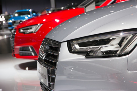 new motor vehicles: BRUSSELS - JAN 12, 2016: New Audi cars on display at the Brussels Motor Show.