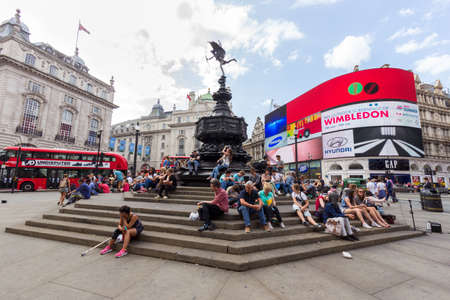 piccadilly: LONDON - JUL 1, 2015: View on Piccadilly Circus in London Editorial
