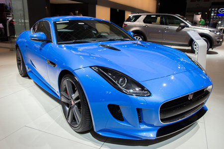 super car: BRUSSELS - JAN 12, 2016: Jaguar F-Type coupe on display at the Brussels Motor Show.