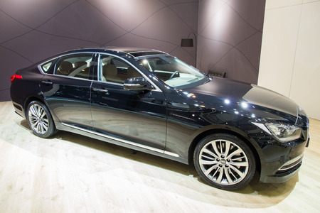 genesis: BRUSSELS - JAN 12, 2016: New 2016 Hyundai Genesis on display at the Brussels Motor Show.