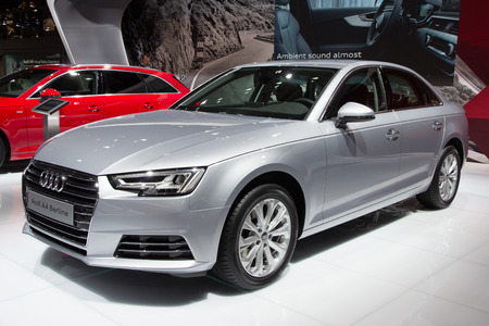 a4: BRUSSELS - JAN 12, 2016: Audi A4 Berline on display at the Brussels Motor Show.