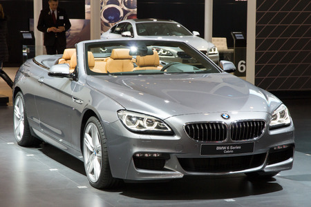 motorshow: BRUSSELS - JAN 12, 2016: BMW 6 series Cabrio on display at the Brussels Motor Show.