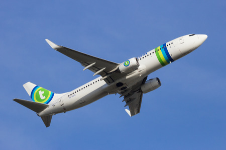 boeing: AMSTERDAM-SCHIPHOL - FEB 16, 2016: Transavia Boeing 737NG take-off from Schiphol airport