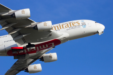 emirates: AMSTERDAM-SCHIPHOL - FEB 16, 2016: Emirates Airbus A380 take off from Schiphol airport. Editorial