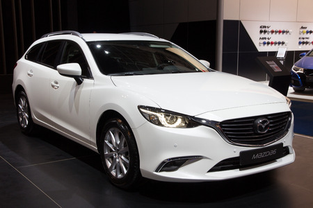 mazda: BRUSSELS - JAN 12, 2016: Mazda 6 on display at the Brussels Motor Show. Editorial