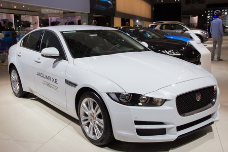 motor show: BRUSSELS - JAN 12, 2016: Jaguar XE on display at the Brussels Motor Show.