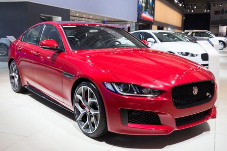 jaguar: BRUSSELS - JAN 12, 2016: Jaguar XE on display at the Brussels Motor Show.