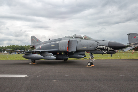 aircraft bomber: GILZE RIJEN, THE NETHERLANDS - JUNE 21, 2014: Turkish Air Force F-4 Phantom fighter jet on static display at the Dutch Air Force Open House.