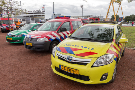 ambulance car: ROTTERDAM, NETHERLANDS: SEP 5, 2015: Priority vehicles on display at the World Harbor Days. Editorial